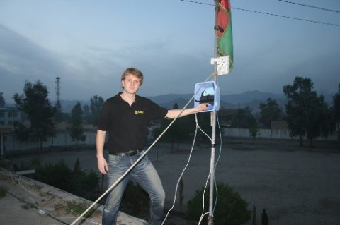 Mario Behling in Afghanistan setting up a Freifunk Network and LXDE computer systems